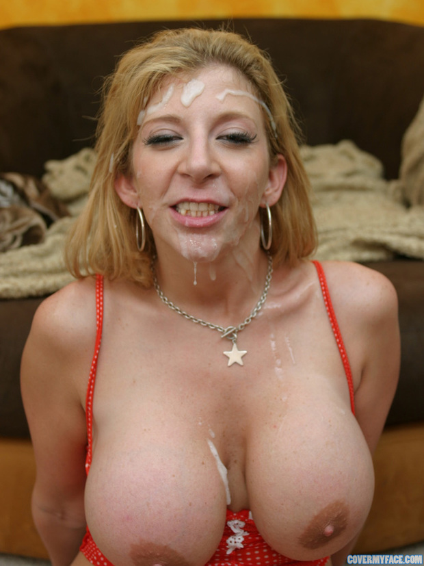 Titted blonde cum on face
