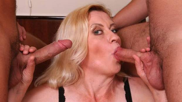Mature group blowjob
