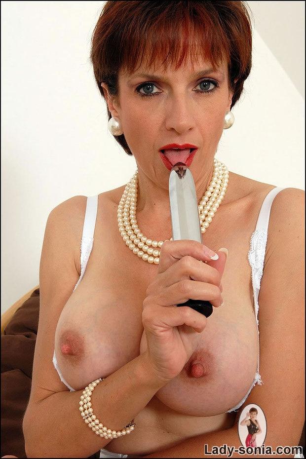 Sonia - look at those perky nipples; Big Tits Mature Red Head